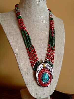 Ethnic Nepal Tibet Necklace Turquoise Coral Amber Boho Chic Jewelry 23.5""