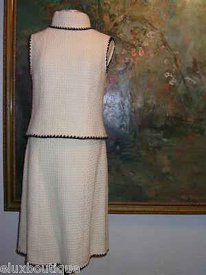 CHANEL Tweed SHIRT Zippered Top Vest Blouse Ivory STORE Skirt Coat Suit Ensemble