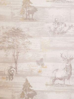 Animal Print Wallpaper Stag Bear Woodland Oakley Grey Gold Metallic Pine Cone (Oakley Wallpaper)