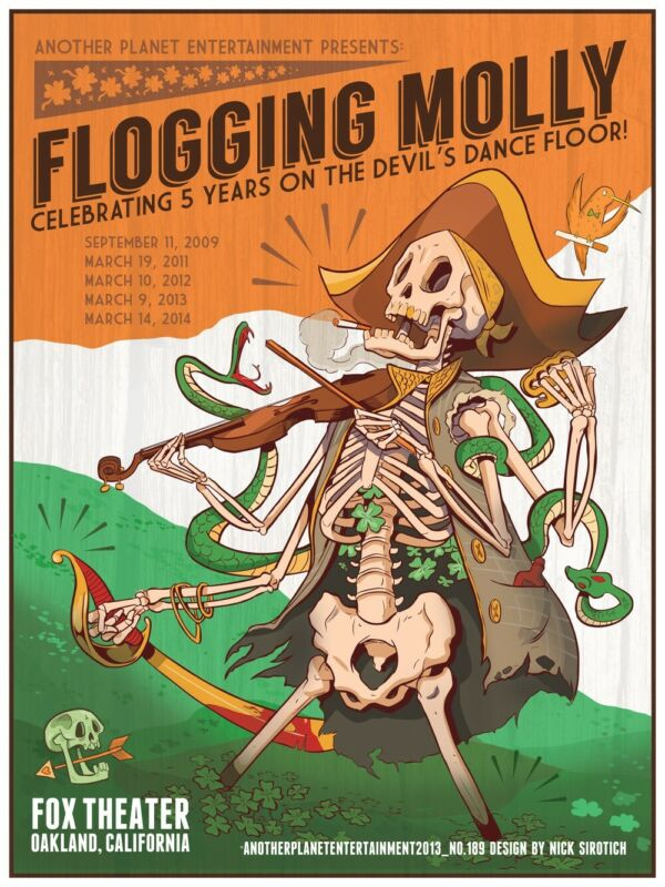 """Flogging Molly 18"""" x 24"""" Concert Poster - Fox Theater, Oakland CA"""