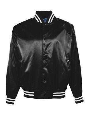 Augusta Sportswear - Satin Baseball Jacket Striped Trim - - Augusta Sportswear Satin Baseball Jacket