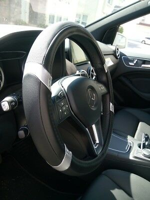 Limited Edition Black + Silver PU Leather Steering Wheel Cover Stylish Fashion