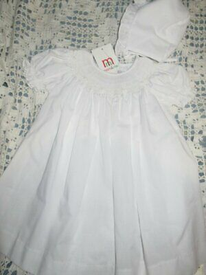 nwt Mom & Me white smocked bishop dress and bonnet baby girl 3 m free ship USA (White And Bishop)