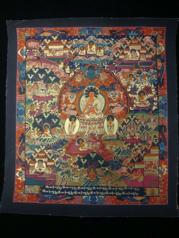 "Old Chinese Tibetan Thang-ga ""Tangka"" Gilt Hand Painting Golden Buddha Images"
