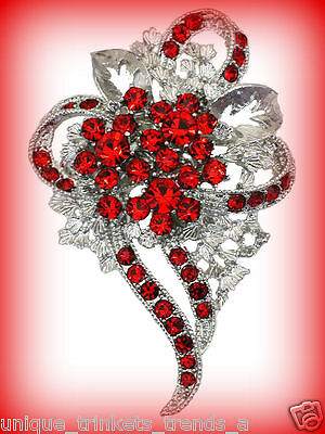 ROSE RED CRYSTAL RHINESTONE FLOWER HEART SILVER BROOCH PIN~VALENTINES DAY GIFT