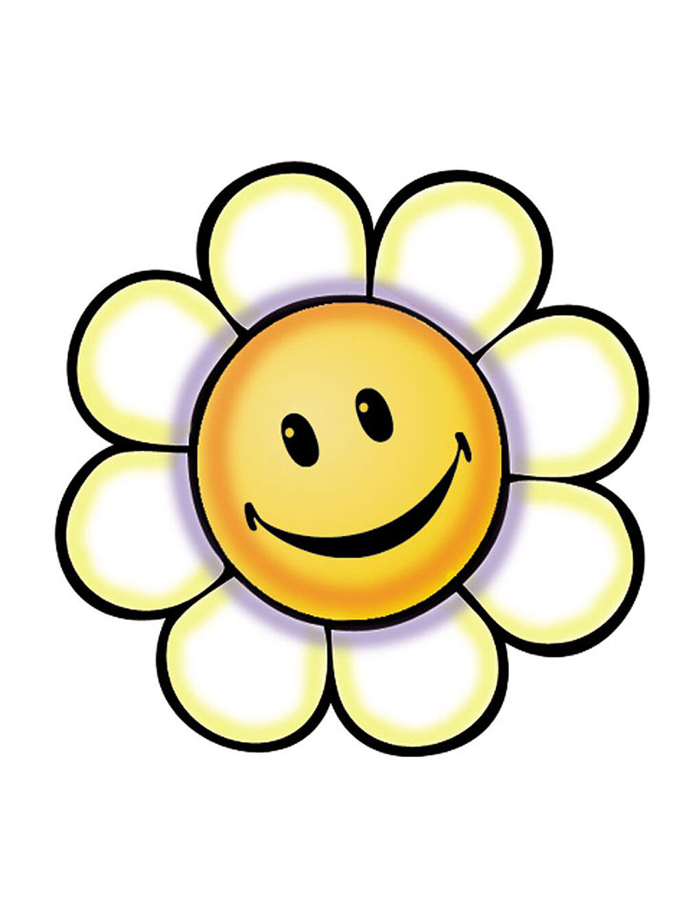 25 Retro Flower Power Smily Face Daisy Yellow Wallies Wall Cutout ...