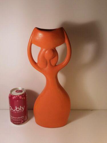 Abstract Orange Vase - Woman - Mid Century Modern
