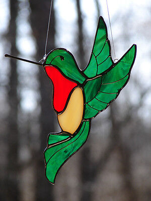 Stained Glass Ruby Throated Hummingbird