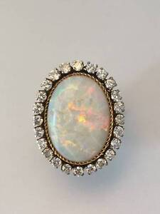 Vintage Solid Opal & Diamond Ring 14ct Yellow Gold $14,500 VAL Neutral Bay North Sydney Area Preview