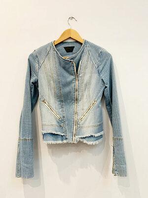 Designer KITX Size 6 Blue Denim Stunning Fitted Zip Front Women's Jacket