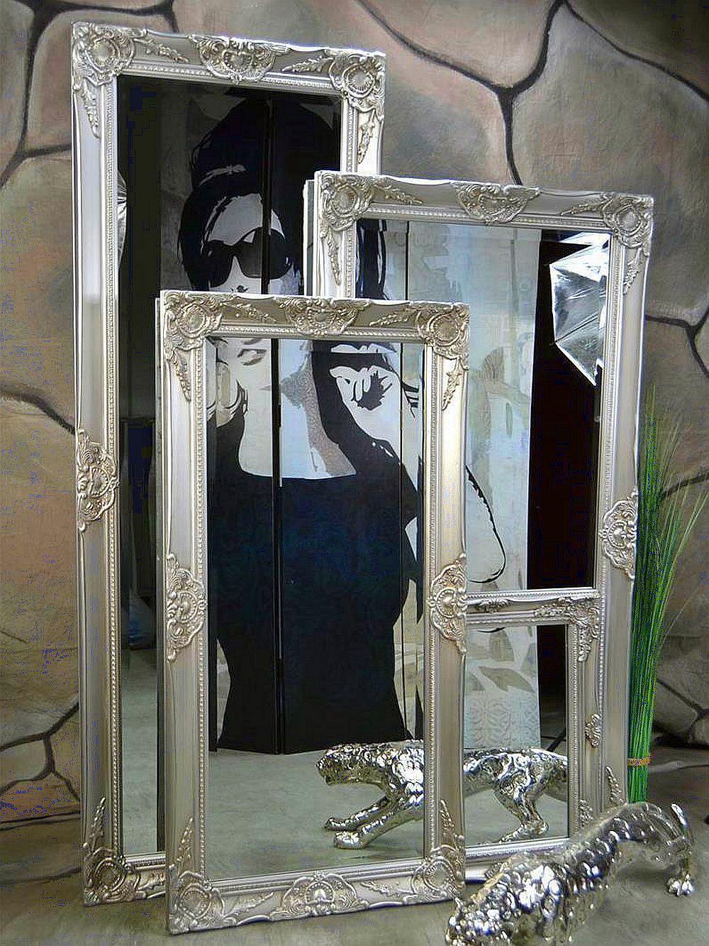 Wandspiegel Badspiegel Spiegel barock antik Silber Landhaus Rokoko 140 x 50cm