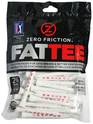 "Zero Friction Bamboo FATTEE Golf Tees 2-3/4"" 60-Pack - White/Red"