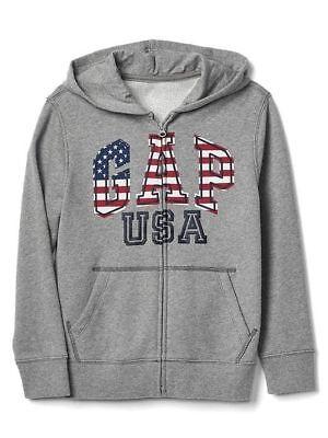 New Gap Kids USA Flag Graphic 2 Sides Zip Up Hoodie Sweatshirt NWT 6 7 8 10 12