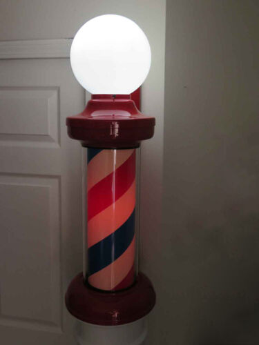 Vintage Large Revolving Lighted Barber Pole Wall Mount Lamp Ad Sign / Men`s Cave