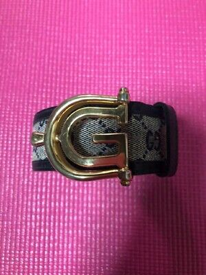 GUCCI Old Gucci Vintage Leather Belt G Buckle Brown Total length 80 cm Rare F/S