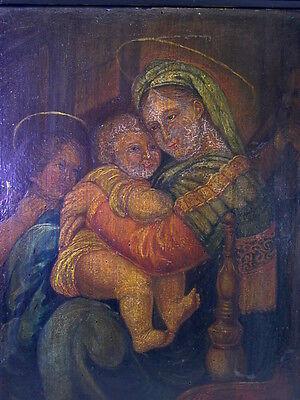 antikes Gemälde Tempera / Holz - La Vierge l'enfant Jesus et St. Jean - Johannes