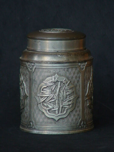 Japanese Chinese Old Antique Tin Pewter Tea Caddy Ginger Jar Signed 4 flowers