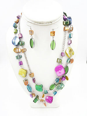 New Double Strand - Colorful New Double Strand Shell Necklace & Earring Set #N2232