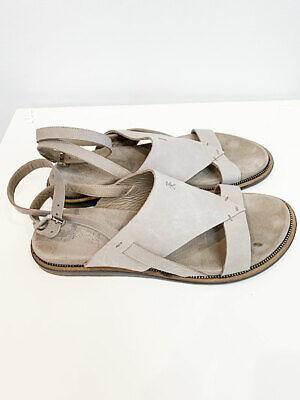Designer Henry Beguelin Size 39 Tan Leather Ankle Strap Detail Women's Sandals