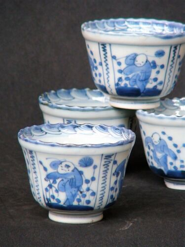Set of 4 Japanese Antique Pottery Blue & White Imari Tea cup Hand Paint