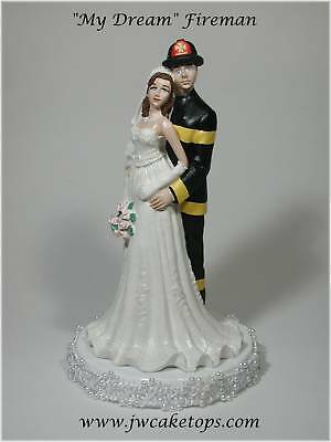 Fireman Black Gear Brunette Bride Wedding Caketop 49fb2