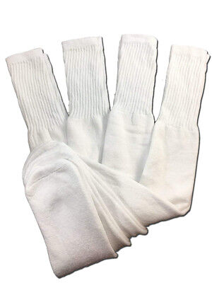 4 Pairs Mens White Tube Socks Big and Tall Extra Long Thick Cotton - 24 - Big Sock