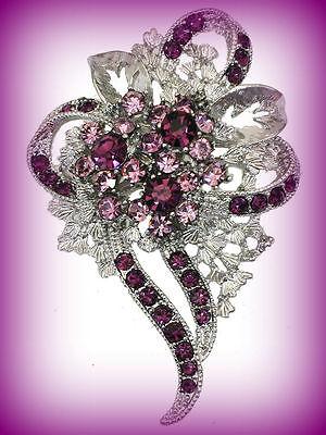 VINTAGE STYLE PURPLE HEART CRYSTAL FLOWER WEDDING DRESS BOUQUET BROOCH PIN