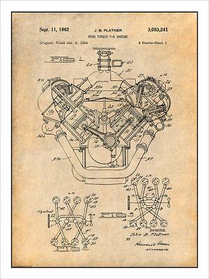 1954 Chrysler 426 Hemi V8 Engine Patent Print Art Drawing Poster 18X24 ()