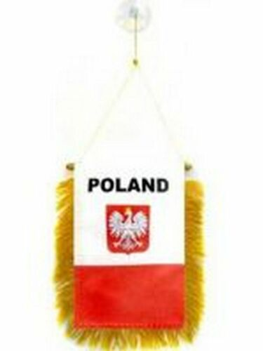 Poland Polish State Flag Hanging Car Pennant for car Window or Rearview Mirror