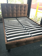 Clearance Brand New Brown Queen Size Fabric Bed Frame Clayton Monash Area Preview
