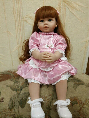 "24"" Reborn Dolls Pinky Clothes Lifelike Baby Soft Silicone Reborn Toddler Girls"
