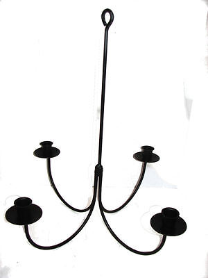 Black Wrought Iron 4 Arm Candle Chandelier USA Amish Made Farmhouse Hand -
