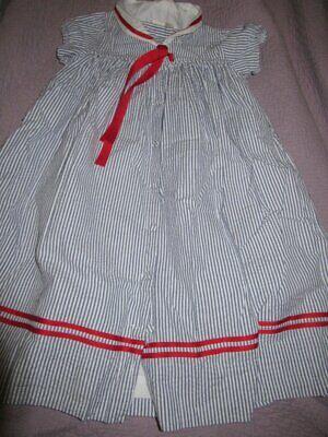 guc Strasburg blue seersucker sailor dress girls ~ 6 7 free ship USA