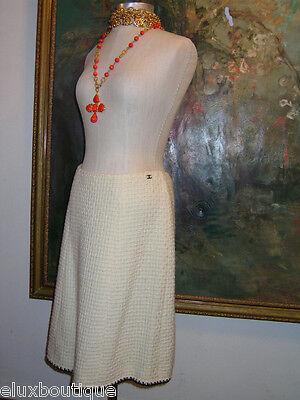 CHANEL Tweed SKIRT Wool Ivory CC Logo ~Visit STORE for Vest & Coat Suit Ensemble