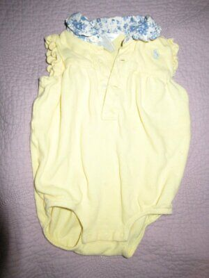 guc Ralph Lauren yellow and blue floral collar bubble romper baby girl 9 m free