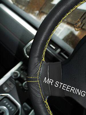 FOR PEUGEOT 107 05+ REAL BLACK LEATHER STEERING WHEEL COVER YELLOW DOUBLE STITCH