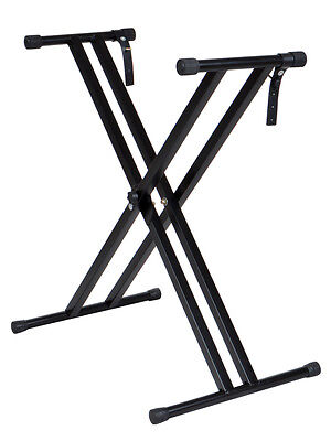 Black Adjustable Double Braced X-Style Electronic Piano Keyboard Metal Stand New