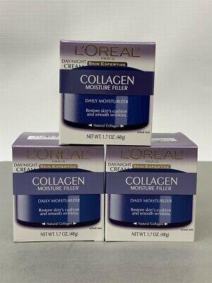 Lot of 3 L'oreal Skin Expertise Collagen Moisture Filler Day/night Cream 1.7oz Collagen Moisture Filler