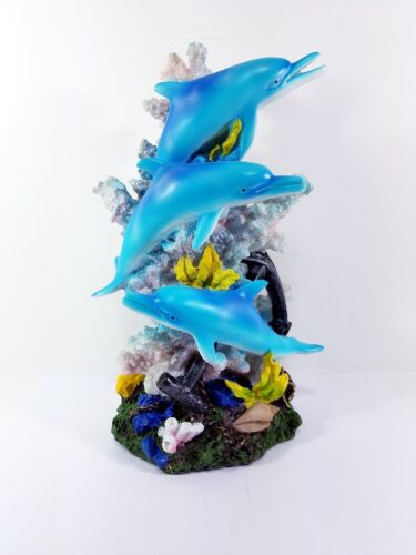 Marine Life Three Dolphins Figurine Statue Playing Around the Coral / 90101