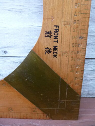 NOS Vintage Japanese Hawaii Tailors, Dressmakers Sewing Square, Wood & Brass