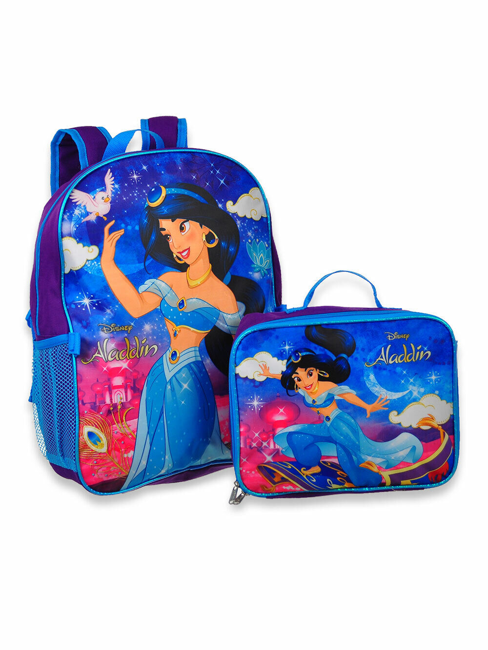 princess jasmine aladdin girls school backpack lunch