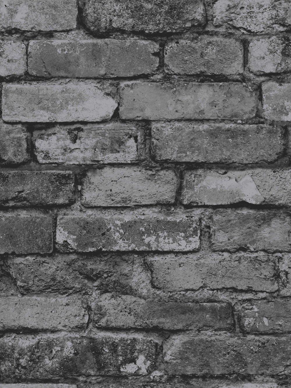 Fd31284 Black Charcoal Silver Grey Rustic Brick Wall