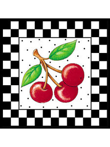 Mary Engelbreit White Framed Checks Cherries 25 Wallies Black Checked Checkered
