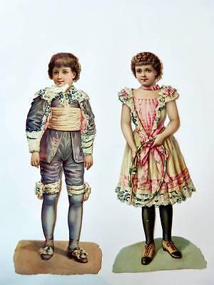 2 Stück alte Oblaten Stammbuchblümchen Kinder in Rokoko - Kostüm Aus Pappe