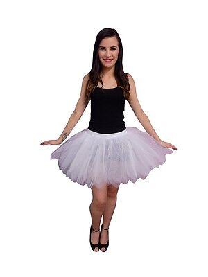 NEON WHITE 8 LAYER TUTU SKIRT BUSTLE 80S FANCY DRESS HEN PARTY FUN RUN BRIDE (Bustle Skirt Kostüm)