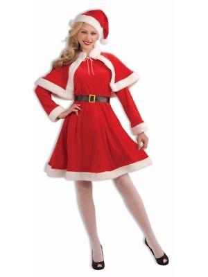 Miss Santa Suit Christmas Costume Velvet Dress Capelet Adult Women Std Mrs Claus ()