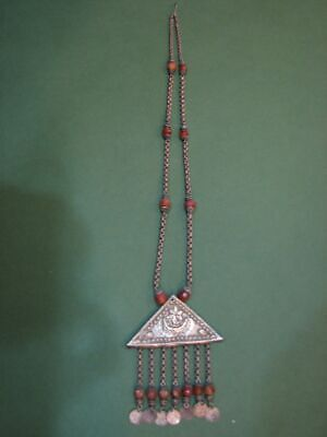 Necklace pendance,rectangle silver plated bezel with an eclectic mix of pink stones and a silver plated snake chain.