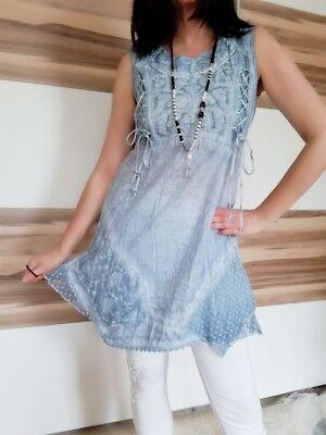 BODY NEEDS●LOVELY! TUNIKA KLEID SPITZE STICK DETAILS SCHNÜRUNG●ICE BLUE●Gr. 38● Spitze Detail Kleid