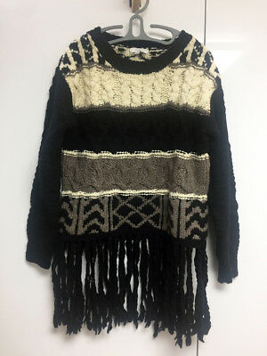 [Adam Lippes] Fringed Chunky Sweater Cable Wool Knit Sz Small / New without Tag