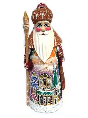 Santa Claus Figurine Russian Father Frost Hand Painted With Church 6 1/4 Inch